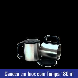 Caneca Inox PEQUENA 180ml c/ tampa - PRATA - REF. 1006519