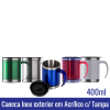 Caneca Acrílica Acabamento Inox - 400 ml c/ Tampa - REF. 1006520