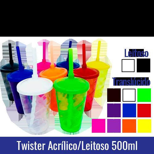 Copo Twister Acrílico 500 ml c/ Tampa