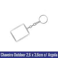 1307 - CHAVEIRO OUTDOOR - FOTO - ACRÍLICO, COM CORRENTE E ARGOLA. DIMENSÕES EXTERNAS: 44mm x 35mm. DIMENSÃO DA ÁREA INTERNA: 26mm x 36mm.