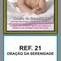 REF. 21 - ORAÇÃO DA SERENIDADE - Folhinha Metalizada - Formato: 20 x 48 cm - Espaço Publicitário: 17,3 x 9,2 cm - Acompanha caixa em duplex e 02 varetas