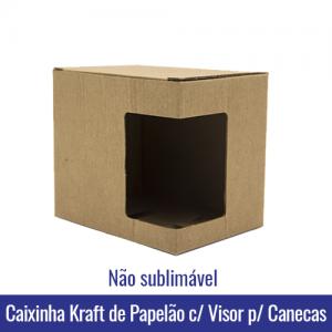 CAIXINHA KRAFT BRANCO PAPELAO COM VISOR PARA CANECAS