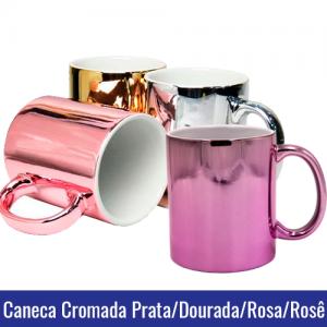 CANECA CROMADA ROSA, PRATA, DOURADO OU ROSE