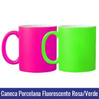 caneca fluorescente neon porcelana sublimação