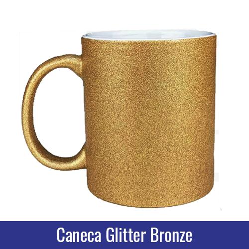 caneca glitter bronze sublimação