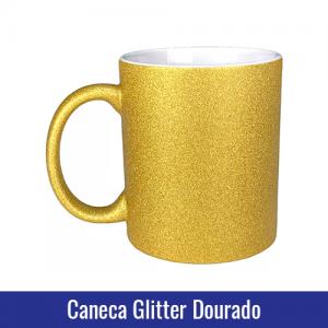 Caneca glitter dourado sublimação