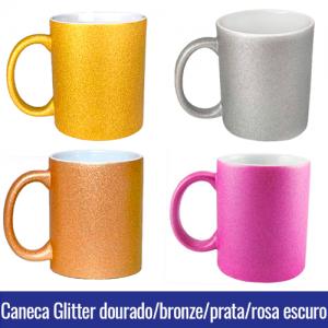 caneca glitter prata, dourada, rosa e bronze para sublimação