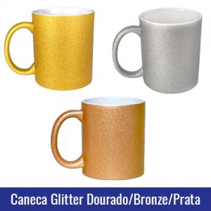 caneca glitter dourada, bronze e prata sublimação