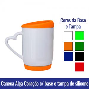 Caneca de Porcelana 325ML BRANCA ALÇA CORAÇÃO para BASE e TAMPA de SILICONE - 91009