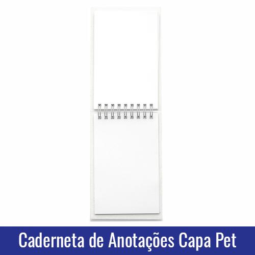 CADERNETA DE ANOTACOES CAPA PET PARA SUBLIMACAO