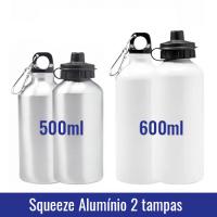 squeeze aluminio sublimatica duas tampas 500ml 600ml