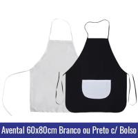 AVENTAL SUBLIMAÇÃO BRANCO OU PRETO COM BOLSO BRANCO