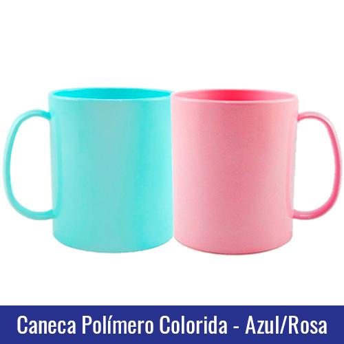 caneca polimero rosa azul sublimação
