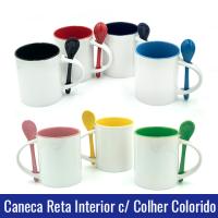caneca reta interior colorido com colher sublimacao porcelana