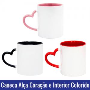 Caneca de Porcelana Branca com Alça Coração e Interior Preto, Vermelho ou Rosa Para Sublimação