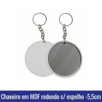chaveiro em mdf com espelho 5,5cm