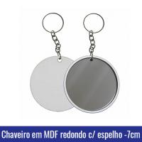 chaveiro mdf espelho sublimacao 7cm