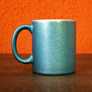caneca glitter azul