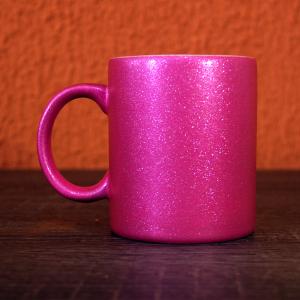caneca glitter rosa sublimacao