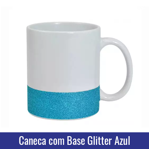 caneca base glitter azul para sublimacao