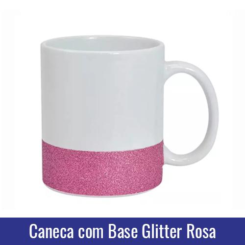 caneca base glitter rosa para sublimacao