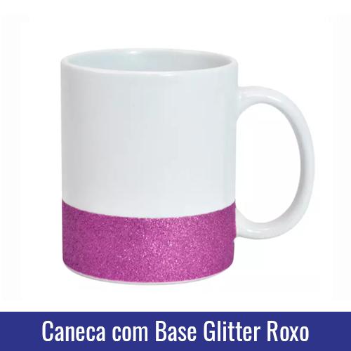 caneca base glitter roxo para sublimacao