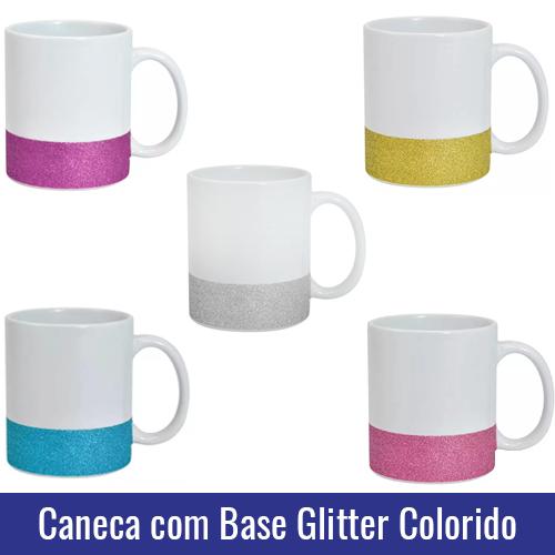 caneca base glitter colorido para sublimacao