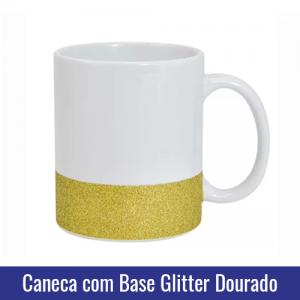 caneca base glitter dourado para sublimacao