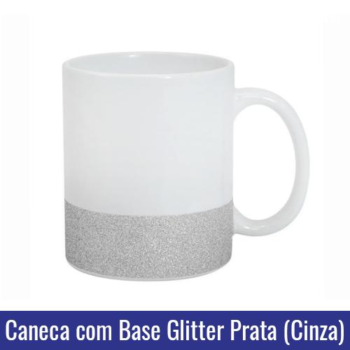 caneca base glitter prata cinza para sublimacao