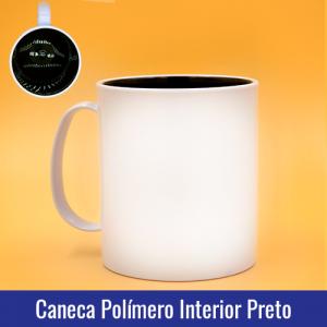 CANECA DE POLÍMERO BRANCA INTERIOR PRETO, 325ml, PARA SUBLIMAÇÃO