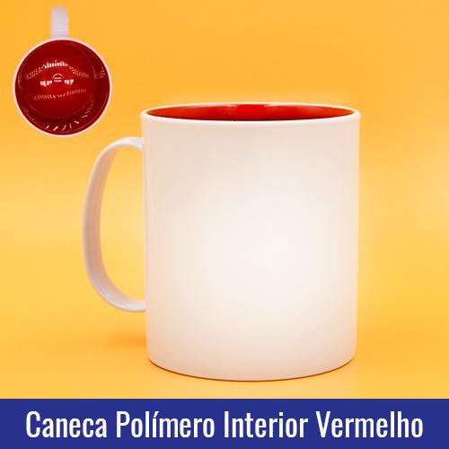 CANECA DE POLÍMERO BRANCA INTERIOR VERMELHO, 325ml, PARA SUBLIMAÇÃO