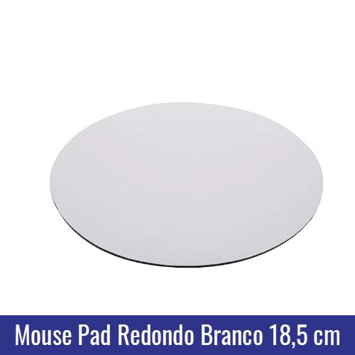 MOUSE PAD REDONDO BRANCO 18,5CM SUBLIMAÇÃO