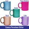 caneca glitter rose, lilas, rosa, verde e azul sublimação