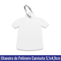 Chaveiro de Polímero c/argola formato CAMISETA para Sublimação - Ref. 94501