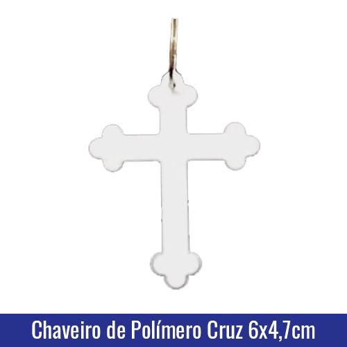Chaveiro de Polímero c/argola formato CRUZ para Sublimação - Ref. 94503