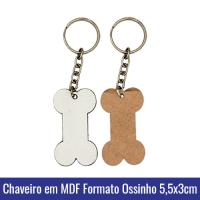 Chaveiro em MDF para SUBLIMACAO Formato OSSINHO 5x3cm (c/argola e corrente) - REF. 101004