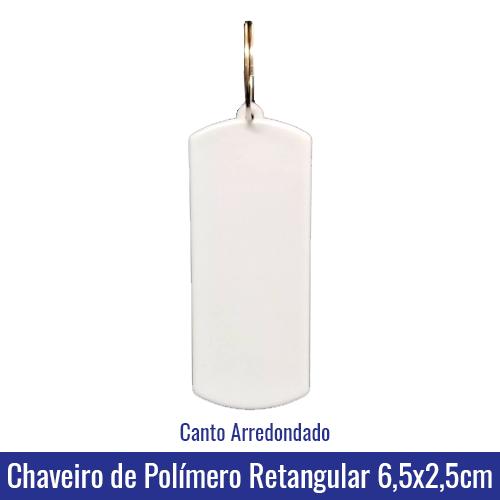 Chaveiro de Polímero c/argola formato RETANGULAR 6,5x2,5cm para Sublimação - Ref. 94509