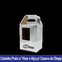 Caixinha com VISOR E ALÇA PRATA BRILHANTE SUBLIMÁVEL de PAPEL DUPLEX 250g para Canecas de CHOPP 475ML - Ref. 93020