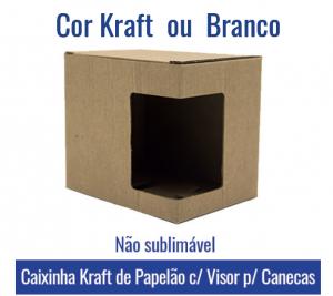 Caixinha Com VISOR KRAFT/BRANCO de PAPELÃO GROSSO para Canecas 11oz (não sublimável) - REF. 93002 E 93003