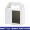Caixinha Com VISOR E ALÇA BRANCA FOSCA de PAPEL DUPLEX 250g para Canecas 11oz SUBLIMÁVEL - Ref. 93009
