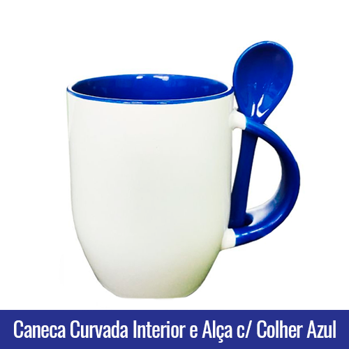 CANECA DE PORCELANA CURVADA PARA SUBLIMAÇÃO INTERIOR E ALÇA C/ COLHER Azul- Ref. 92100