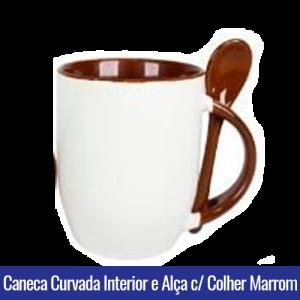 CANECA DE PORCELANA CURVADA PARA SUBLIMAÇÃO INTERIOR E ALÇA C/ COLHER Marrom- Ref. 92100