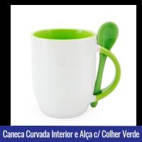 CANECA DE PORCELANA CURVADA PARA SUBLIMAÇÃO INTERIOR E ALÇA C/ COLHER Verde - Ref. 92100