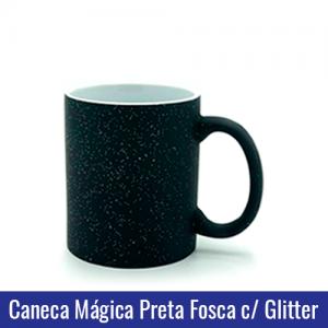 Caneca de Porcelana 325ML Mágica Preta Fosca COM GLITTER - Ref. 92190
