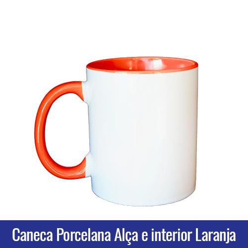 CANECA DE PORCELANA PARA SUBLIMAÇÃO ALÇA E INTERIOR LARANJA - Ref. 92050 - 325ml.