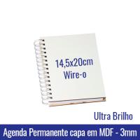 AGENDA PERMANENTE SUBLIMÁTICA C/ CAPA EM MDF ULTRA BRILHO - 3mm - Wire-o Pré Fechado - Miolo em Papel off set 63 gramas - 2x2 cores - Formato: 14,5x20cm - REF. 341