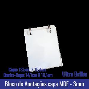 Bloco de Anotações de Mesa - Capa MDF 3mm - Ferragem de duas argolas - Miolo com 150 folhas brancas - Formato Capa: 13,5cm X 16,4cm - Formato Contra-Capa: 14,1cm X 19,1cm - REF. 342