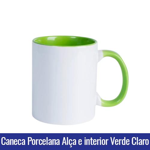CANECA DE PORCELANA PARA SUBLIMAÇÃO ALÇA E INTERIOR VERDE CLARO - Ref. 92050 - 325ml.