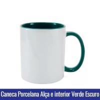 CANECA DE PORCELANA PARA SUBLIMAÇÃO ALÇA E INTERIOR VERDE ESCURO - Ref. 92050 - 325ml.