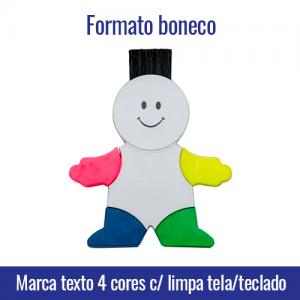 Marca texto 4 cores formato de boneco com limpa tela e teclado TRANSFER